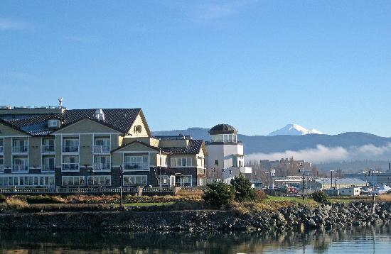 Hotel Bellwether: View from the park across the harbor channel from the hotel.  Note Mt. Baker in the background.