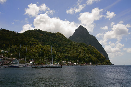 Hackshaw's Boat Charters : Pitons as seen from chartered boat
