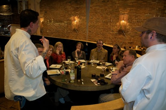 Culinary Connectors' Culinary Tours: Chefs Matt Selby & Wade Kirwan of Vesta Dipping Grill addressing our group