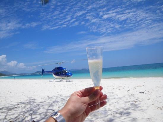 Whitehaven Beach: Champagne, a private helicopter, a picnick, and Whithaven beach after Scuba Diving the great bar