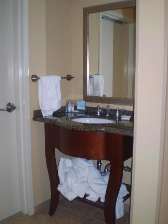Hampton Inn & Suites Little Rock - Downtown: The bathroom sink outside of the bathroom