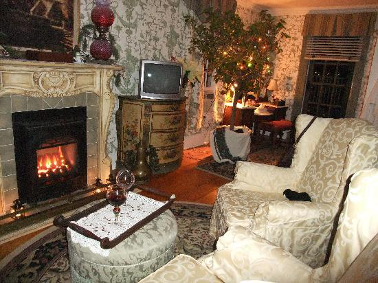 Annette Twining House: cozy by the fire in our room