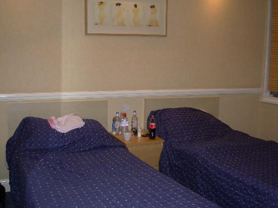 Dalmacia Hotel: Two single beds (and loads of bottles!)