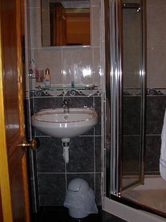 Dalmacia Hotel: Tiny bathroom, Toliet was just behind the door.