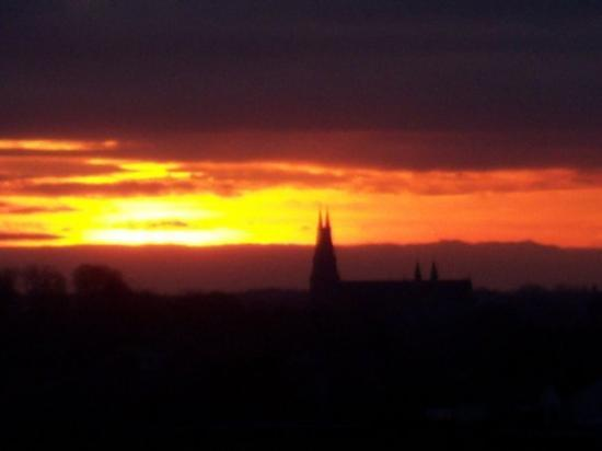 Sunset and Armagh cathedral