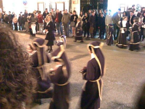 Tiny kids in the Semana Santa parade, at about midnight, Good Friday - Antequera