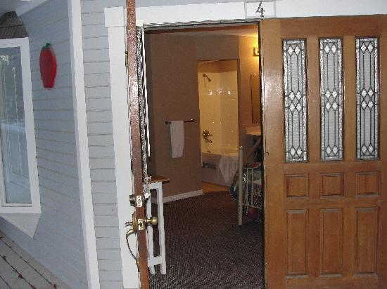Apache Village Cabins: View from the front door.. no bathroom door so no one to come or go when someone is in the showe
