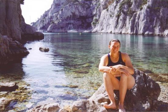 Annie at En Vau, in the Calanques, the most beautiful setting I have ever seen! You have to hike
