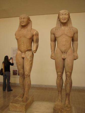 Delphi Archaeological Museum: Kouroi Kleobis and Biton - these are the boys that pull their mother's cart to the Temple of Her