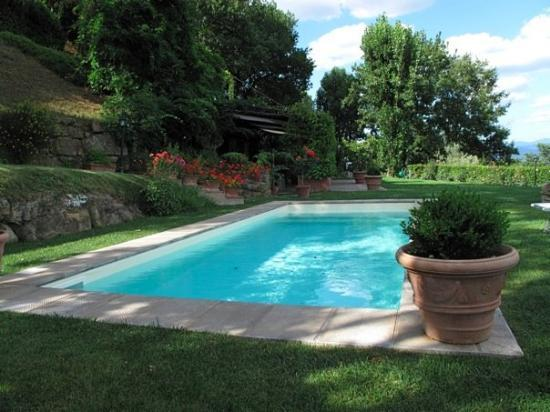 Bagno a Ripoli, Italy: Our villa was an earth-sheltered home. The covered patio can be seen just past the pool, with th