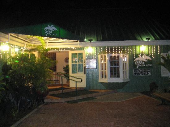 CJ's Steak & Seafood: Front view of CJ's at night.
