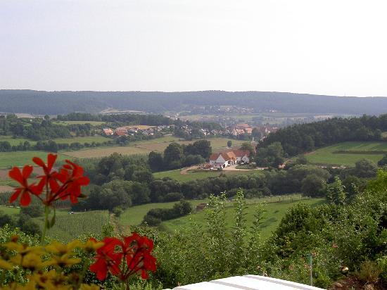 """Gasthaus Zur frischen Quelle: Gasthaus """"Zur frischen Quelle"""" Hagsbronn, Blick von der Terrasse"""
