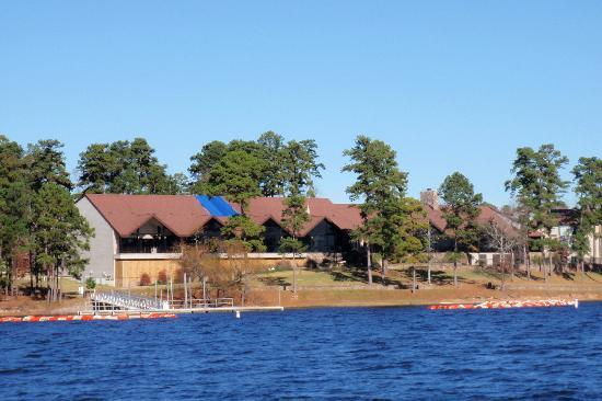 DeGray Lake Resort State Lodge: View of the lodge from our boat tour on the lake