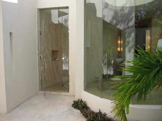 Indoor Outdoor Shower looking from the outdoor shower into the master bathroom (indoor