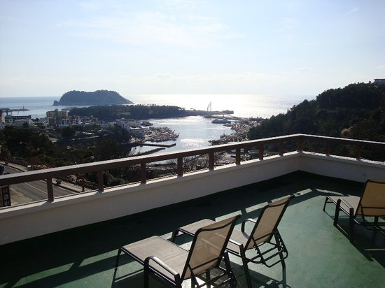 Tae Gong Gak: Our rooftop view of Seogwipo Harbor and beyond