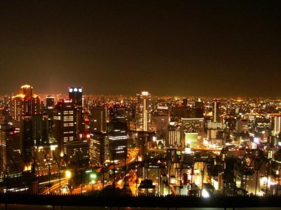 Kuchu Teien Observatory : Osaka City Nightscape View from Floating Garden Observatory, Umeda Building