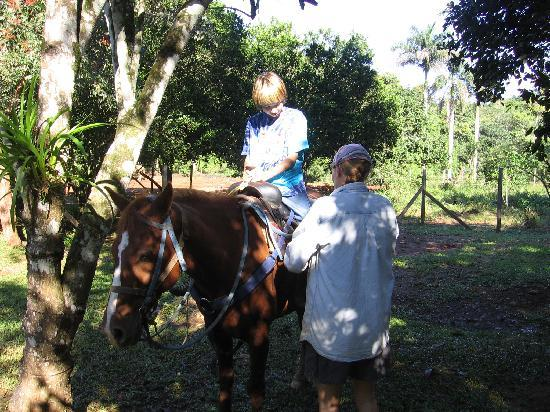 Moonracer Farm Lodging & Tours: Marge getting Steven ready for ride.