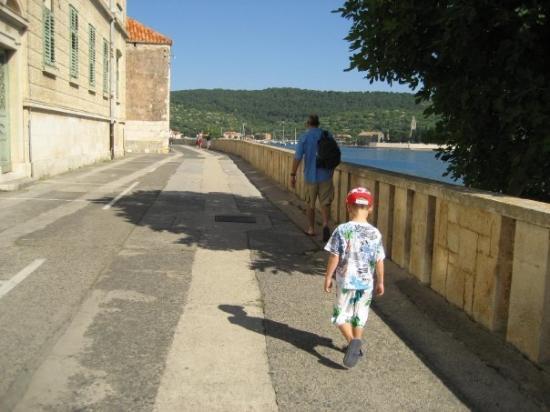 Vis, Kroatia: Walking to town on the beautiful narrow lane.