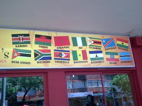 Tshwane Market: Tshwane Bienvenido a Sudafrica en todos los idiomas