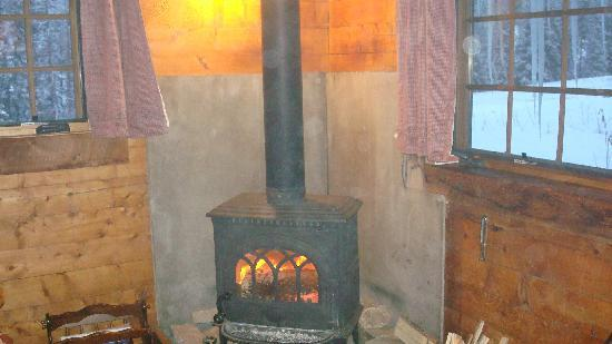 Pioneer Guest Cabins: wood stove