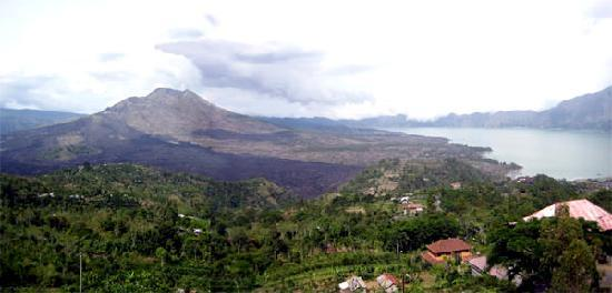 Mount Batur and Lake Batur from one of the restaurant in Kintamani.