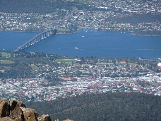 Mt Wellington Descent Bike Ride: View from the top