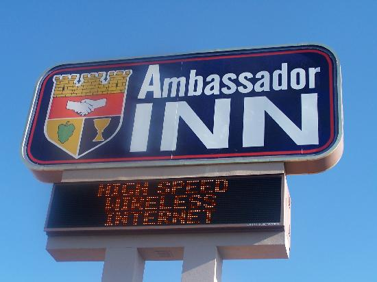 Ambassador Inn: the hotel sign