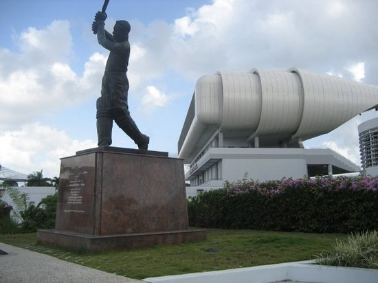 Bridgetown, Barbados: Keningston Oval Stadium and the statue of Garfield Sobers (a very famous cricket player) stands