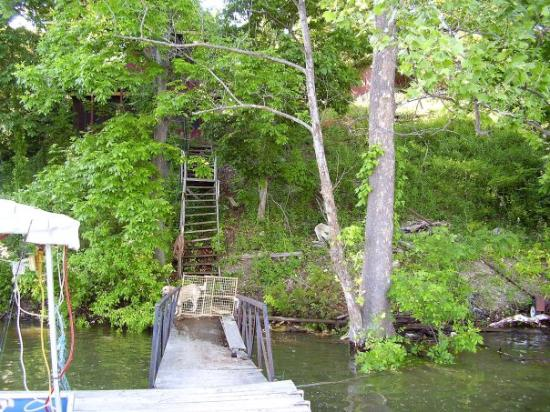 Edwards, MO: View of the hillside & lakehouse from our dock!