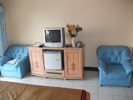 Sofia Hotel: TV/fridge/chairs