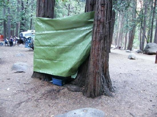 "Upper Pines Campground: Our ""shower"" at our campsite."