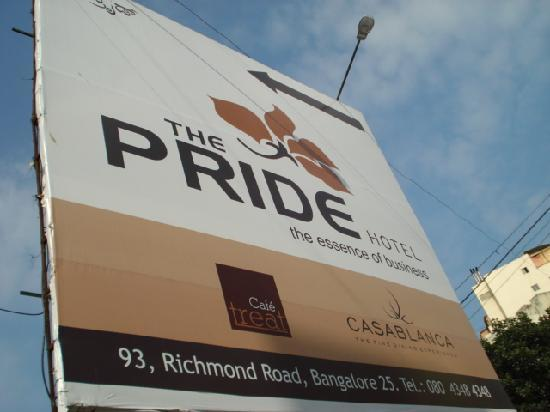 The Pride Hotel: the identifiable hoarding on Richmond Rd, Bangalore