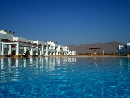 Early morning at the pool of the Swisscare Nuweiba Resort Hotel