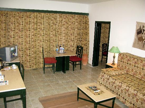 The sitting room in a Swisscare Nuweiba Resort Hotel suite