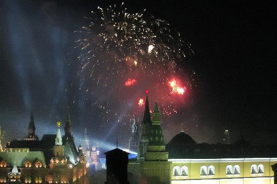 The Ritz-Carlton, Moscow: View from room to fireworks over Red Square