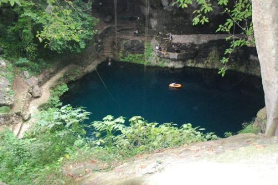 This is the Cenote Zaci in the 400 year old town of Valladolid