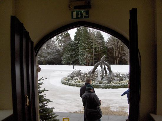 Lough Eske Castle, a Solis Hotel & Spa: Snow and fountain outside the main entrance