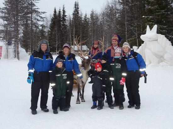 Lapland Hotel Pallas: us with reindeer man at snow hotel