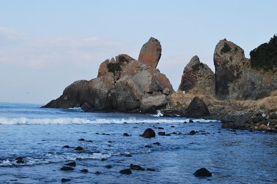 Karatsu, Japan: Over 30m in height the Tategami rocks stand erect and point to the heavens.  These 2 giant basal
