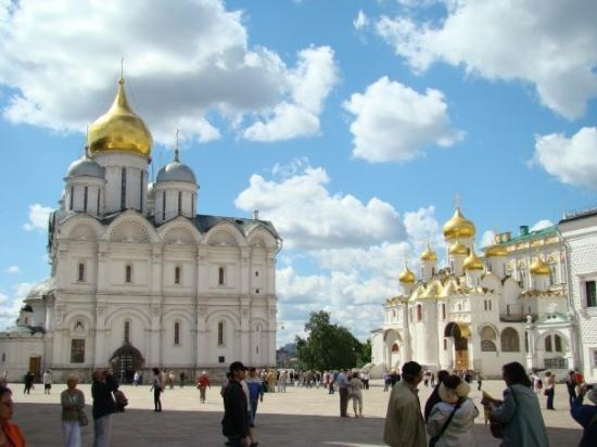 Cathedral Square is the heart of the Kremlin. It is surrounded by six buildings, including three