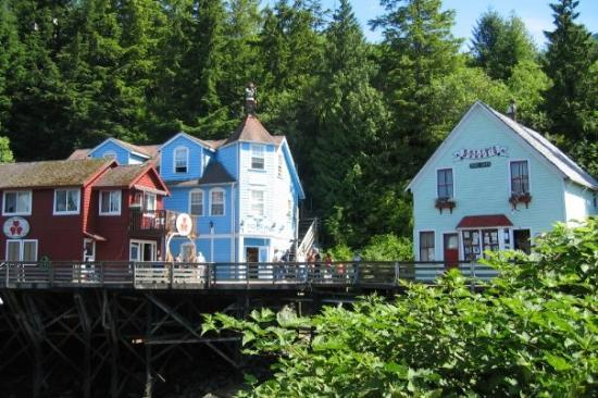 Some shops along Creek Street in Ketchikan.