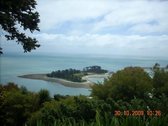 ALONG THE BEACH FRONT. THE BOYS USED TO SWIM TO THIS ISLAND. NELSON