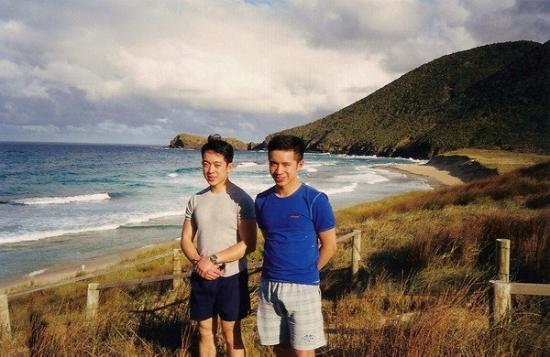 Michael and me on a very windy day at Blinky Beach, Lord Howe Island- my oil painting was based
