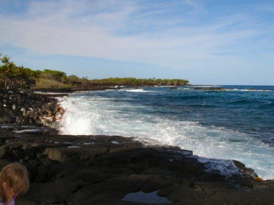 ปาฮัว, ฮาวาย: Waves crashing at the lava beach at Ahalanui Park.
