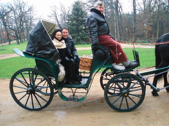 Chateau Mcely : Me with my wife on the trip in a carriage
