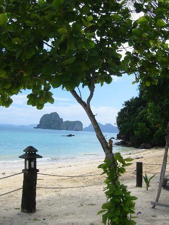 Koh Ngai Thanya Beach Resort : la plage de l hotel côté restaurant