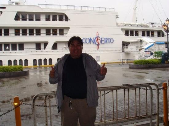 At Kobe port with luxuxy jazz bistro cruise ship, Concerto. :)