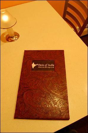 Taste of India: New Menu/Table