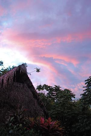 Casas de los Suenos: Sun down over the palapas in the main courtyard
