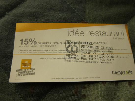 Premiere Classe Annemasse - Gaillard : 系列ホテル、カンパニーレのレストラン割引券
